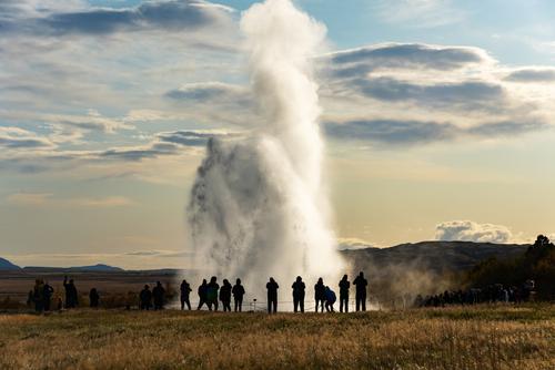 Icelandic Geyser Strokkur. Iceland landmark. Sunny weather