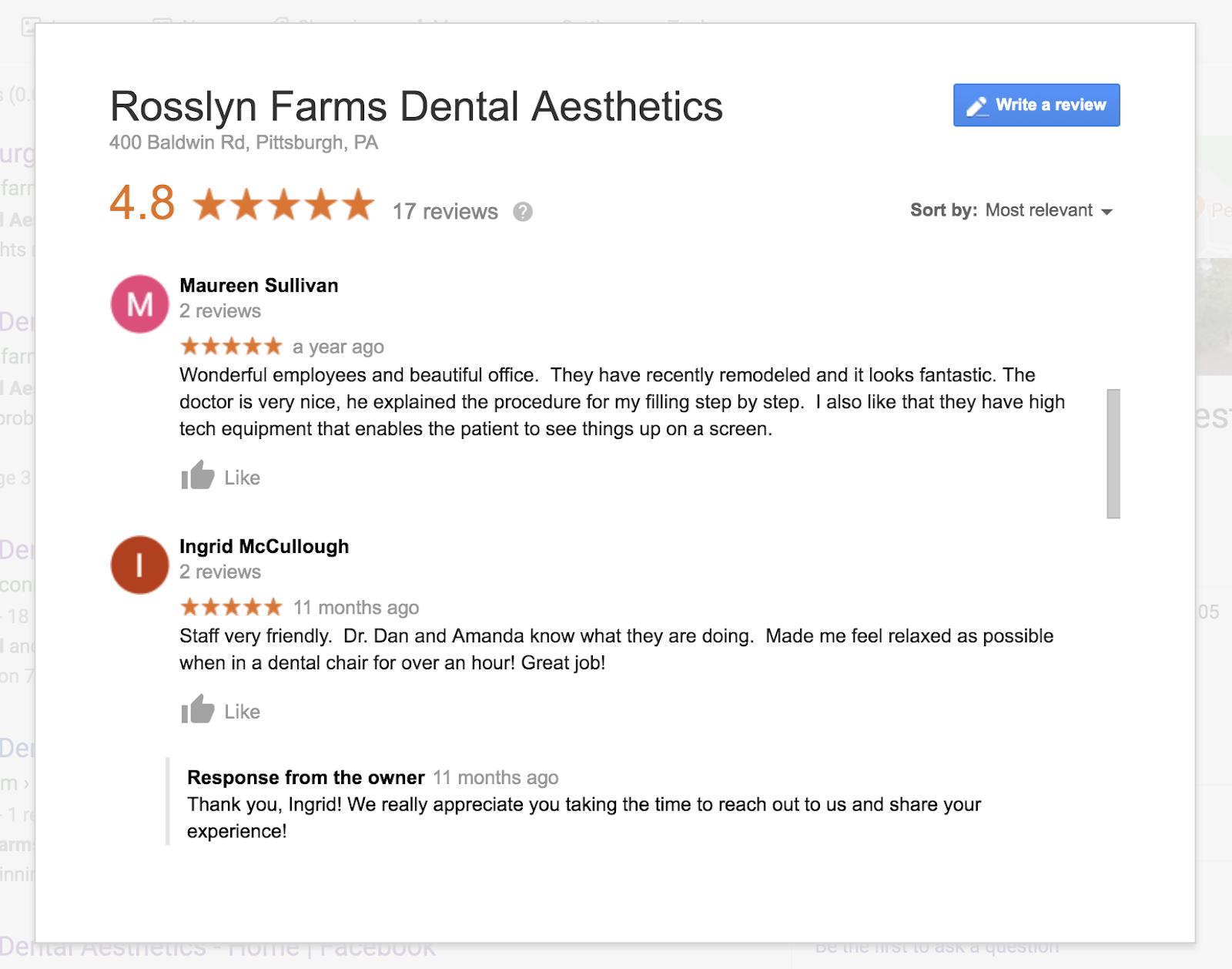 rosslyn farm google reviews
