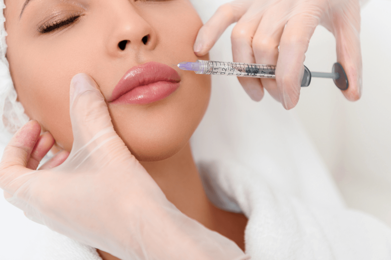 woman getting lip injections