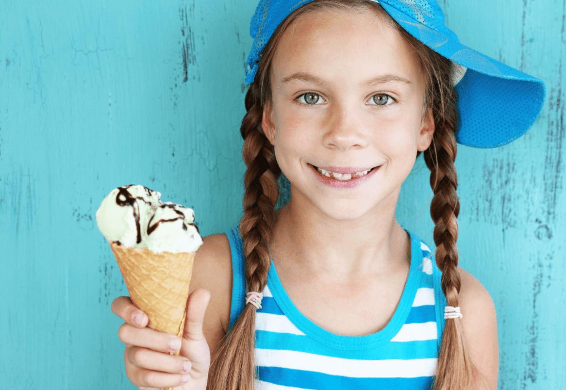 girl smiling ice cream