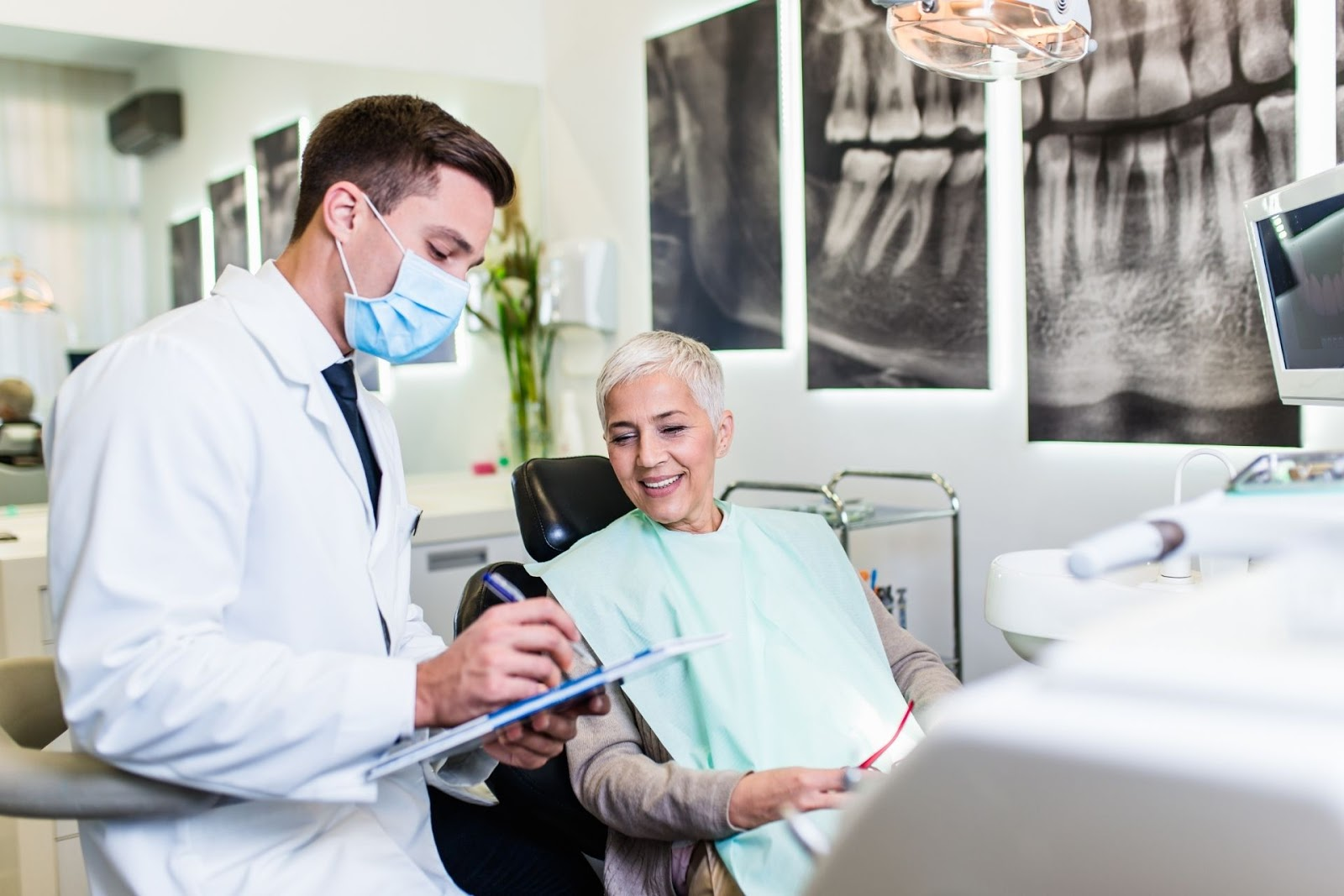 elderly woman and dentist