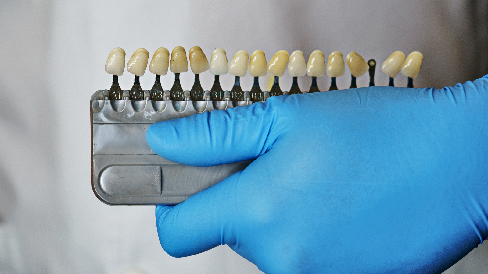 dentist holding set of teeth crowns