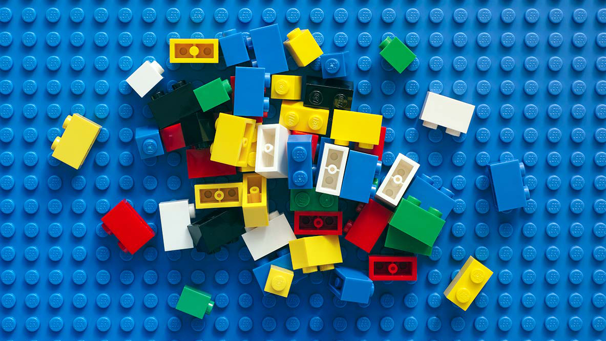 Scattered lego blocks