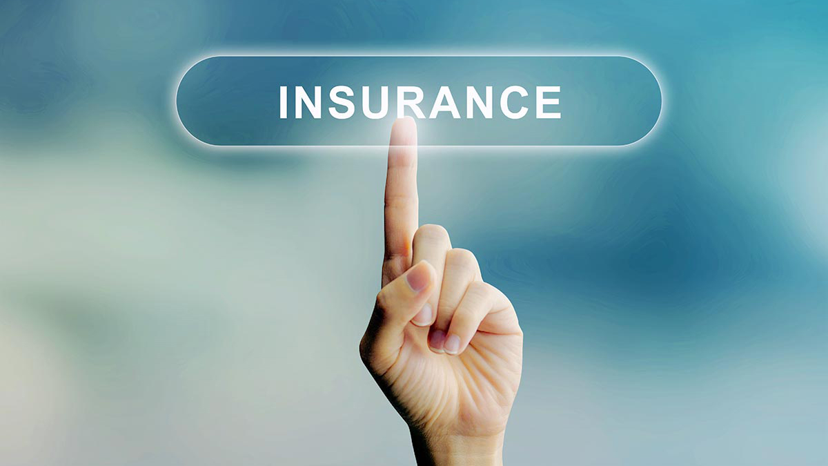 "Image of a closed hand with a finger pointing upward at the word ""insurance"""