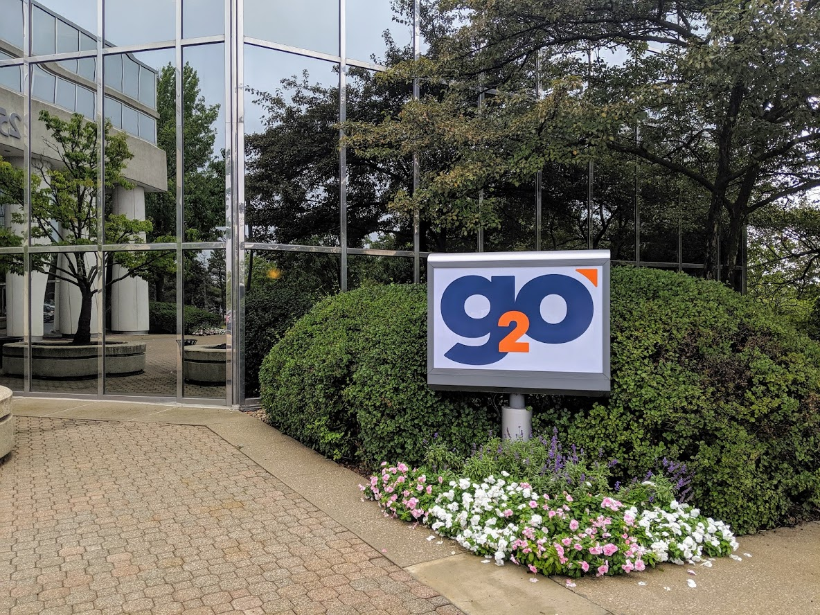 picture of our entrance and the g2o sign
