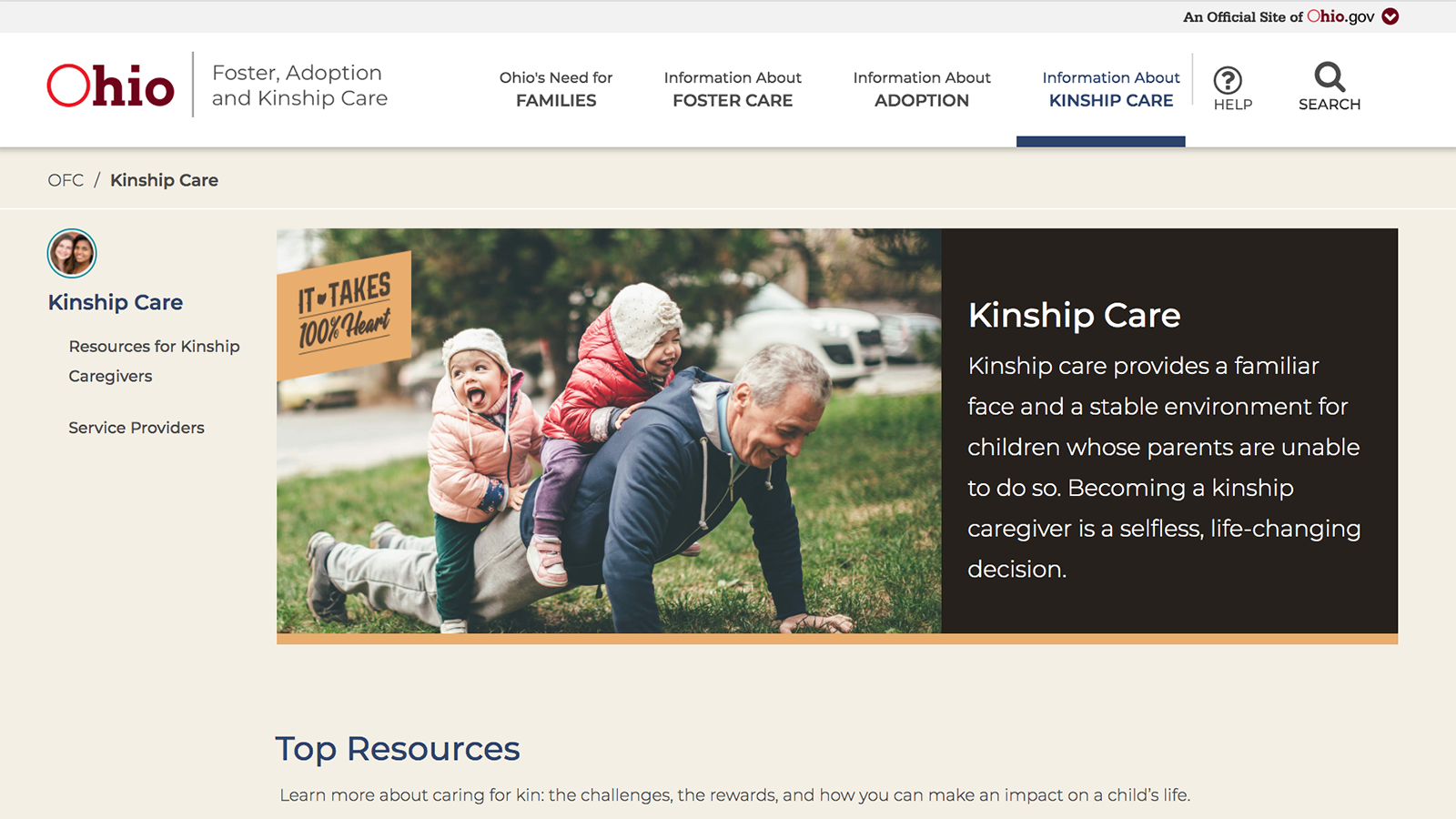 Homepage for the new kinship website