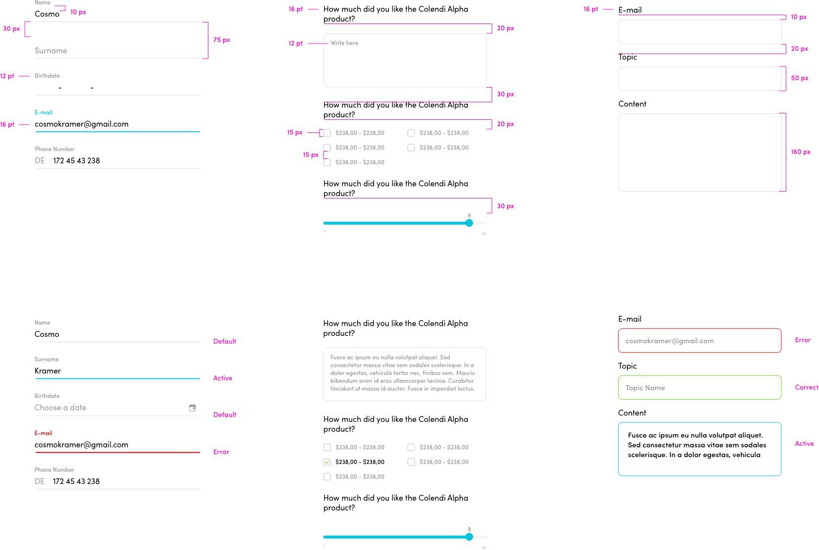 Colendi mobile app Design System UI UX
