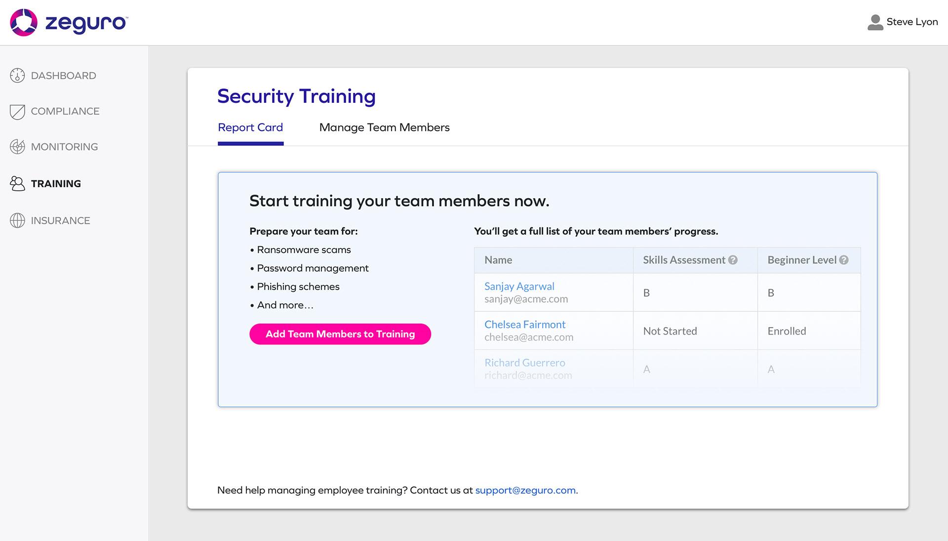 Screenshot from Zeguro platform to show Training screen
