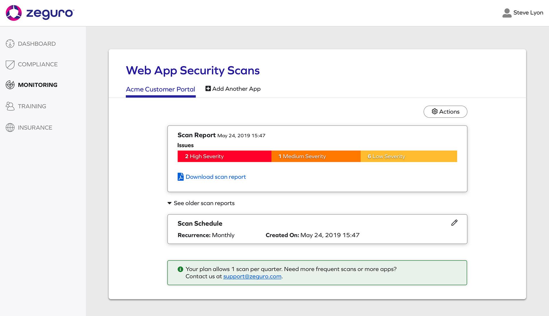 Screenshot from Zeguro platform to show Monitoring screen