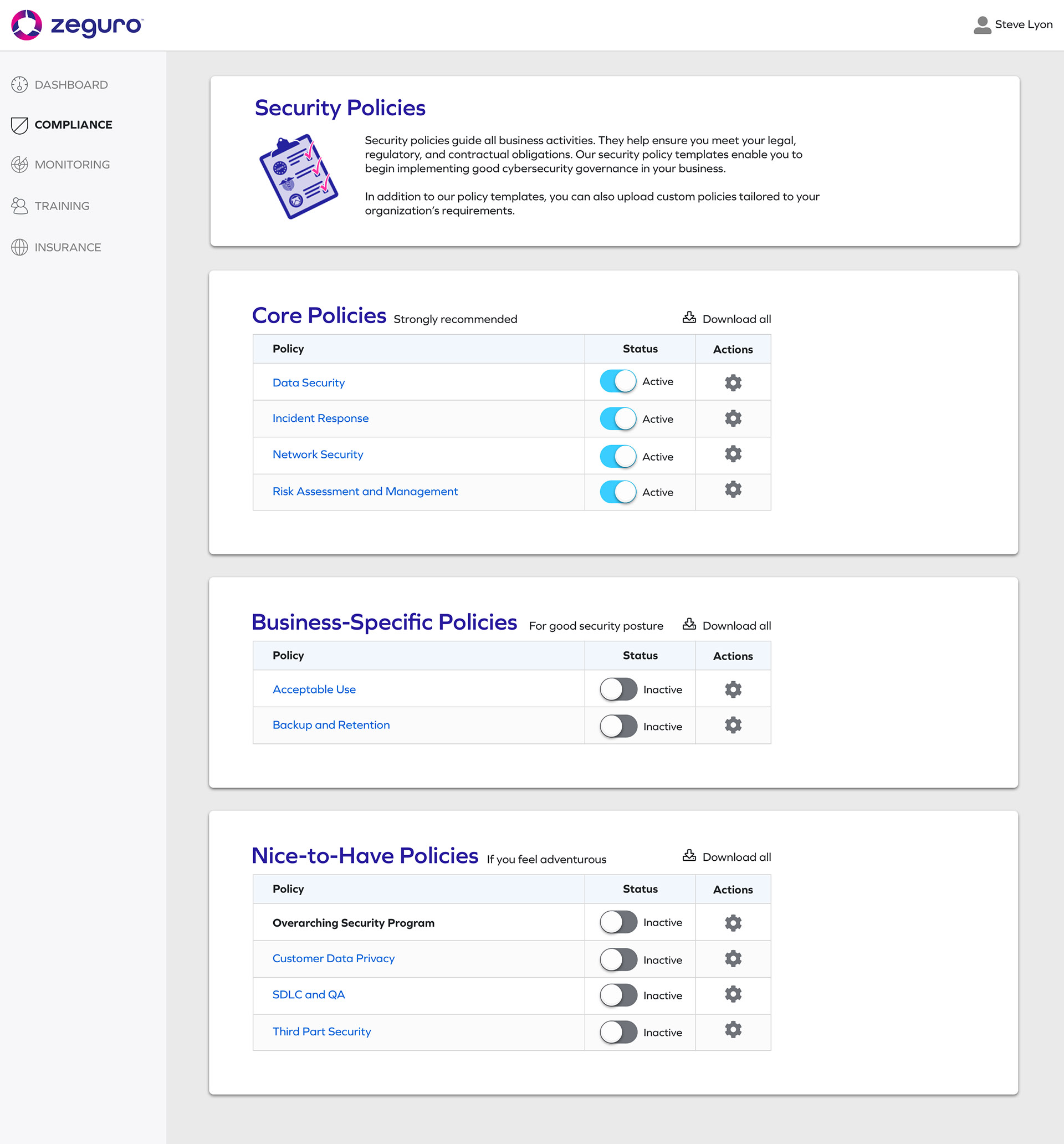 Screenshot from Zeguro platform to show Compliance screen