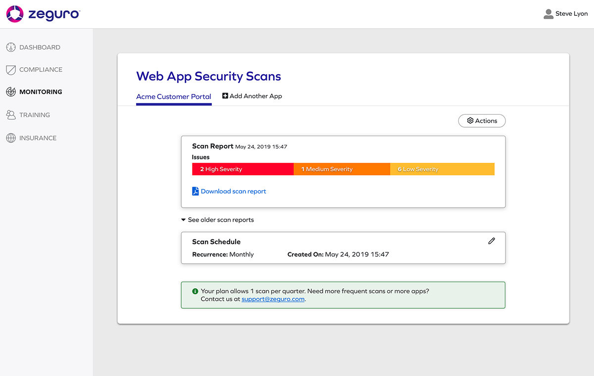 Screenshot from Zeguro platform