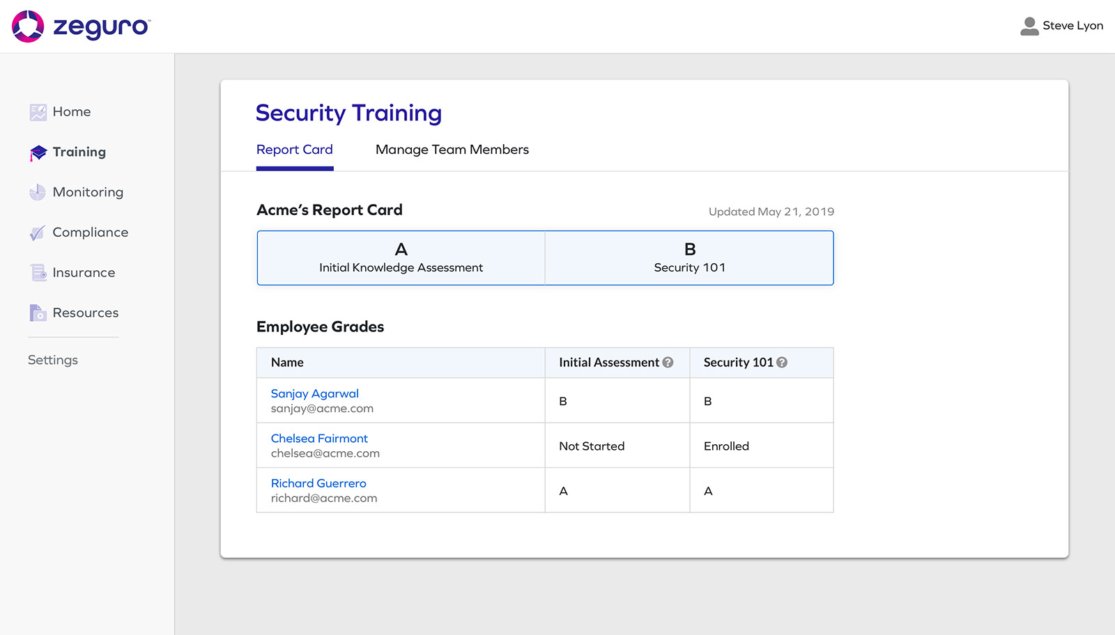 Screenshot from Zeguro platform to show Training screen