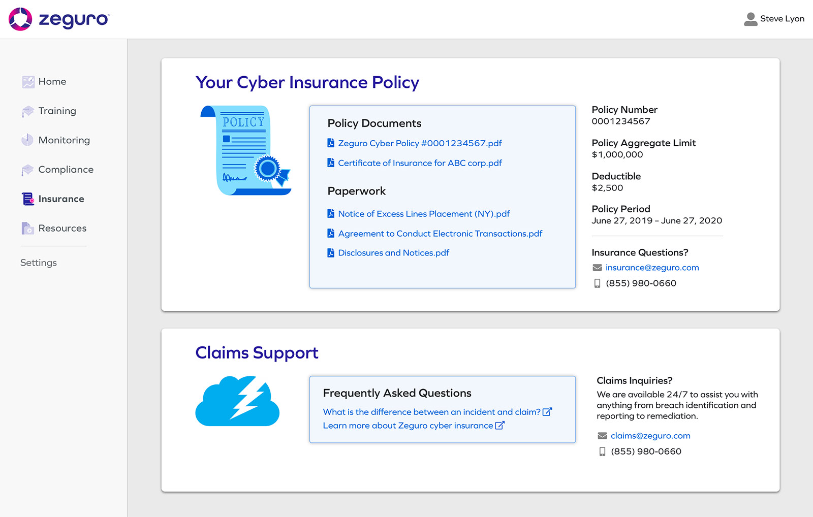 Screenshot from Zeguro platform to show Insurance screen