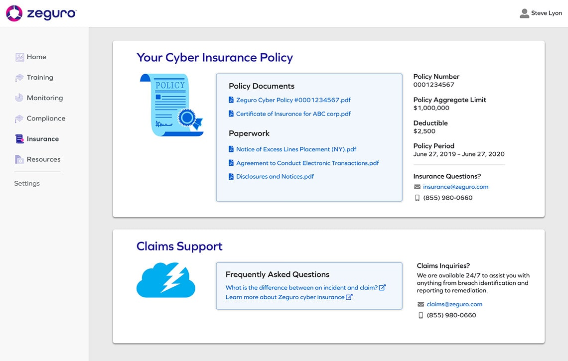 Cyber Insurance Module Screenshot