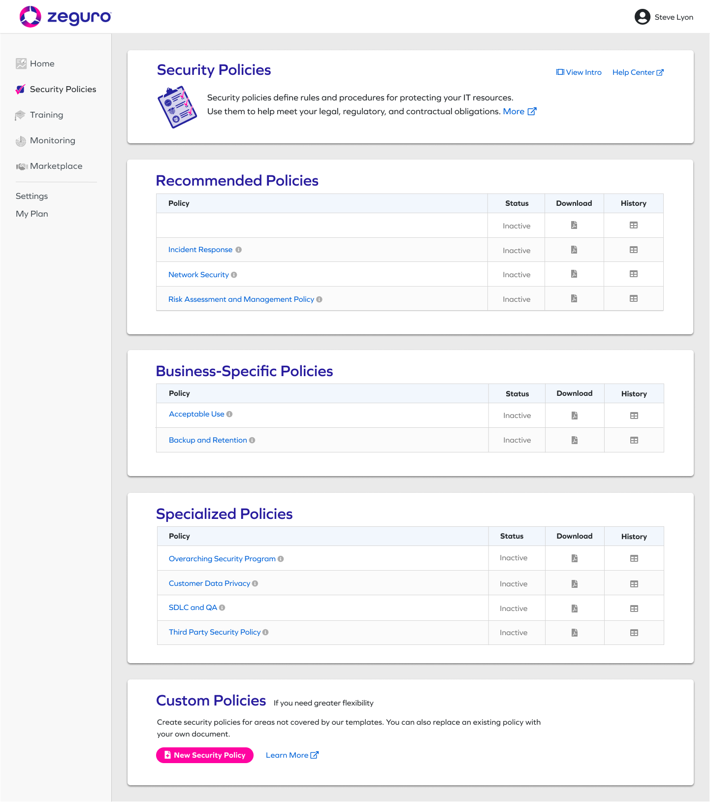 Security Policies Module Screenshot
