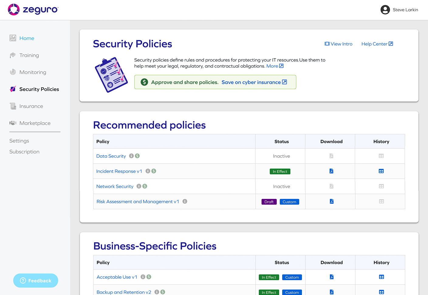 Compliance Module Screenshot