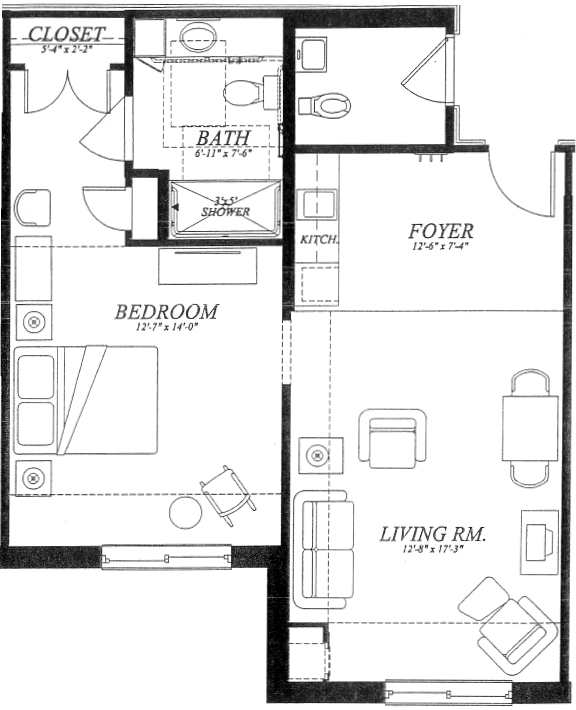 St. Camillus Assisted Living Sample Apartment Floor Plan