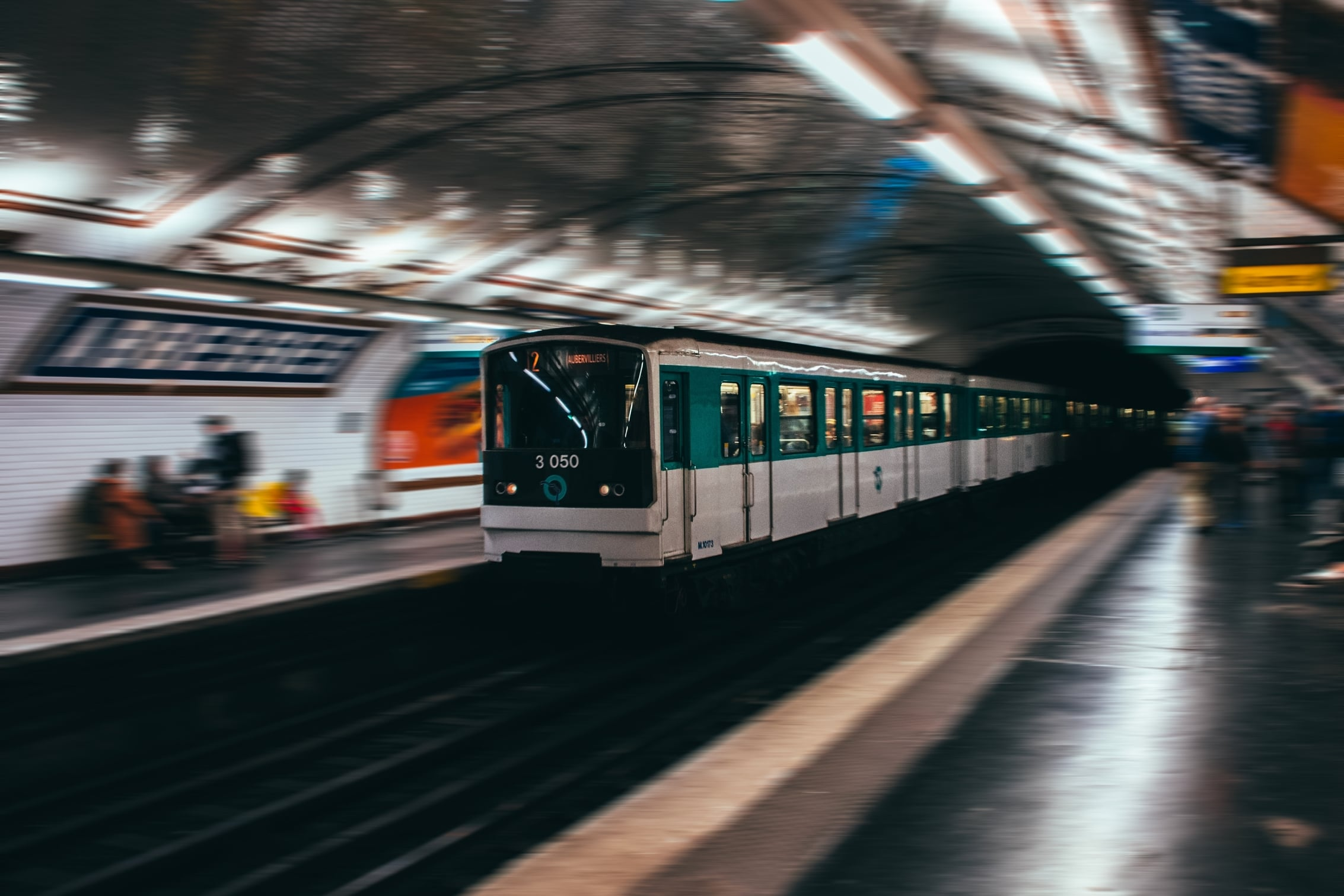 RATP Metro Train Arriving at a Station