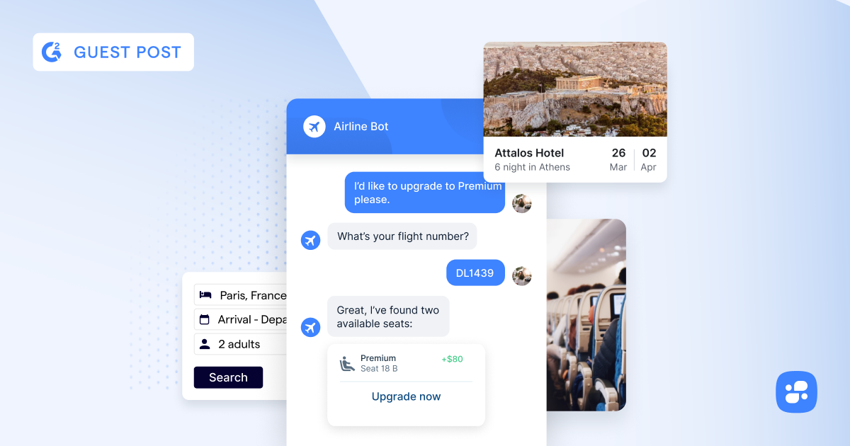 Airline Bot, Hotel Listing, Hotel Dates, and Interior of Airplane