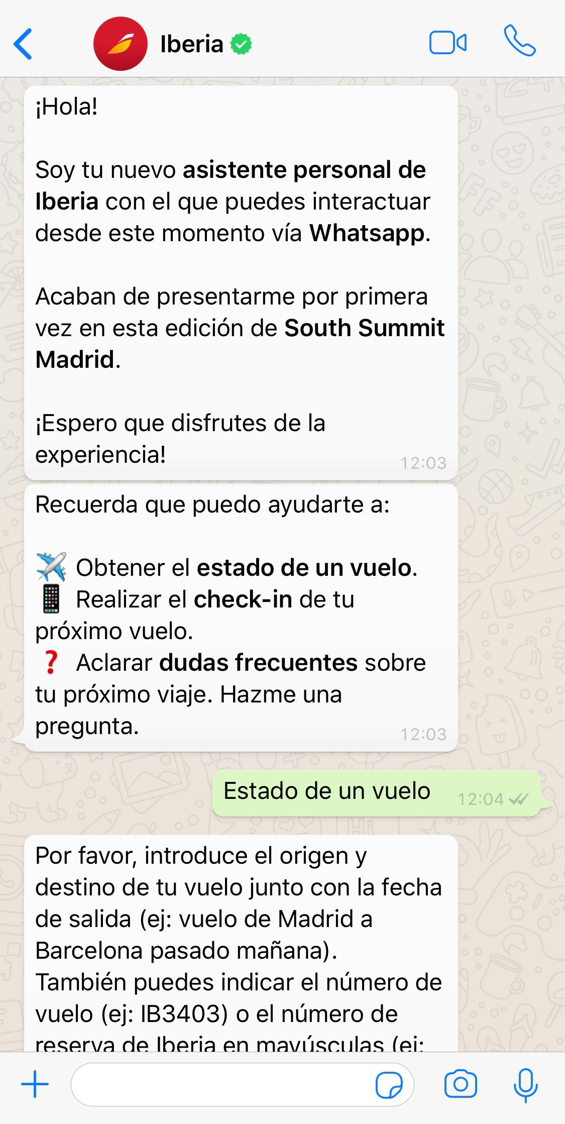 Iberia WhatsApp Chatbot