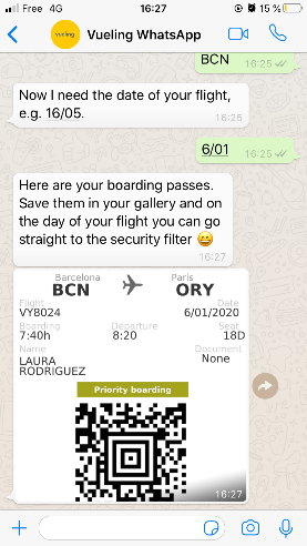 Boarding Pass Through a WhatsApp Chatbot