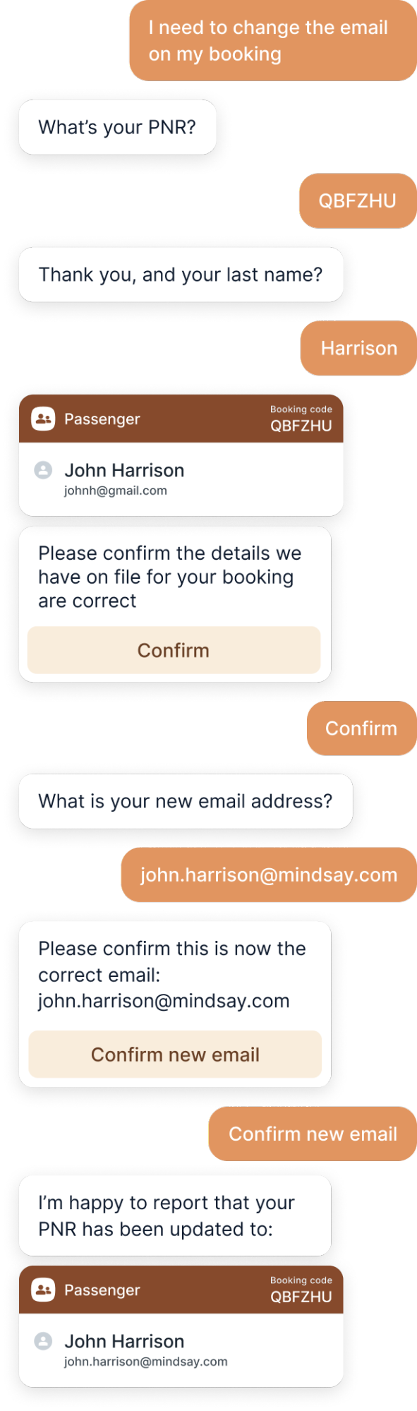 Modifying Booking with a Bot