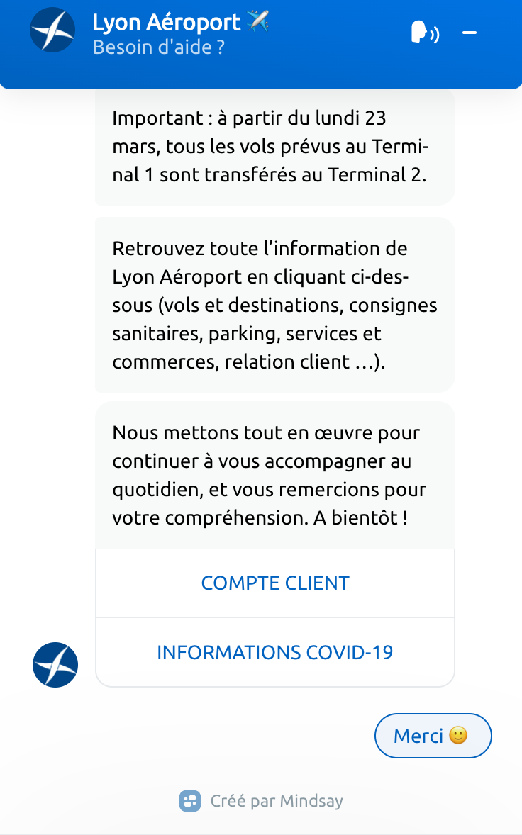 Lyon Airport Bot Offering COVID Information