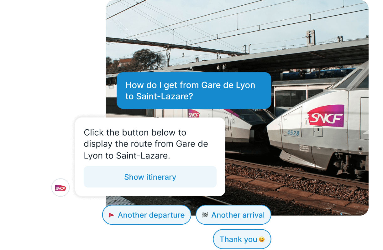 Two SNCF TGV Trains with Chatbot