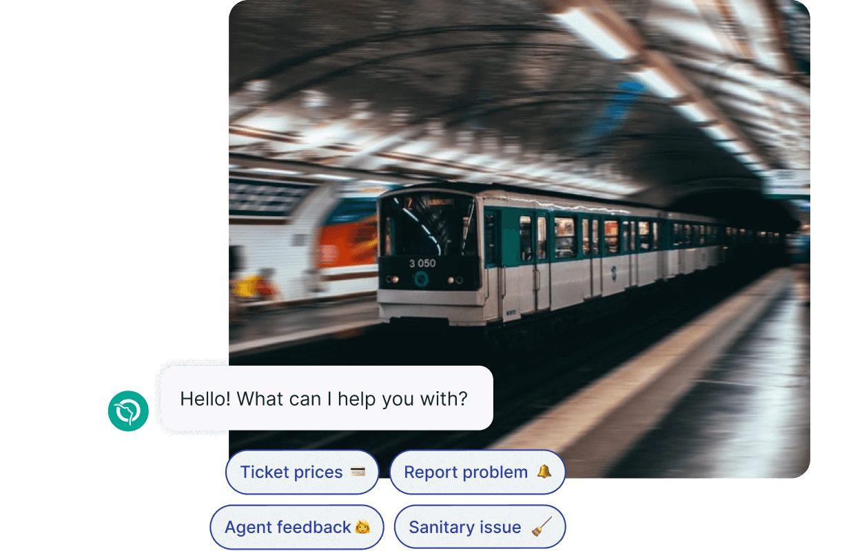 RATP Metro Train Arriving at a Station with Chatbot