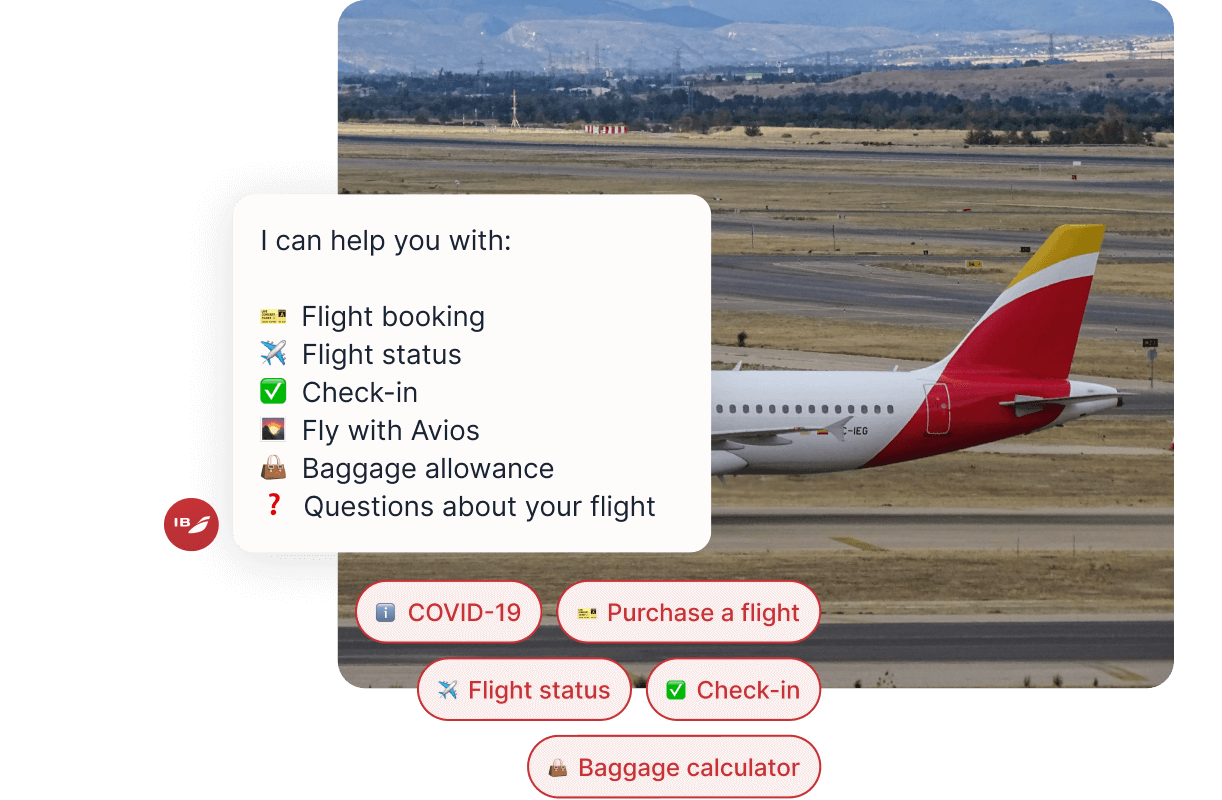 Iberia Plane on Runway with Chatbot