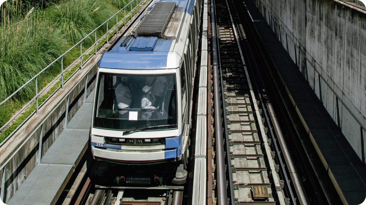 Transport Lausanne Metro Train on Tracks