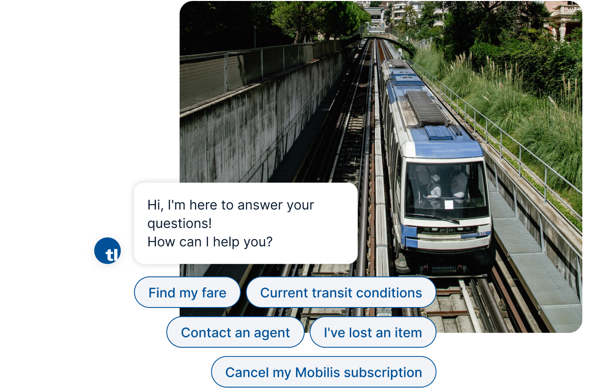 Transport Lausanne Metro Train on Tracks with Chatbot Interface