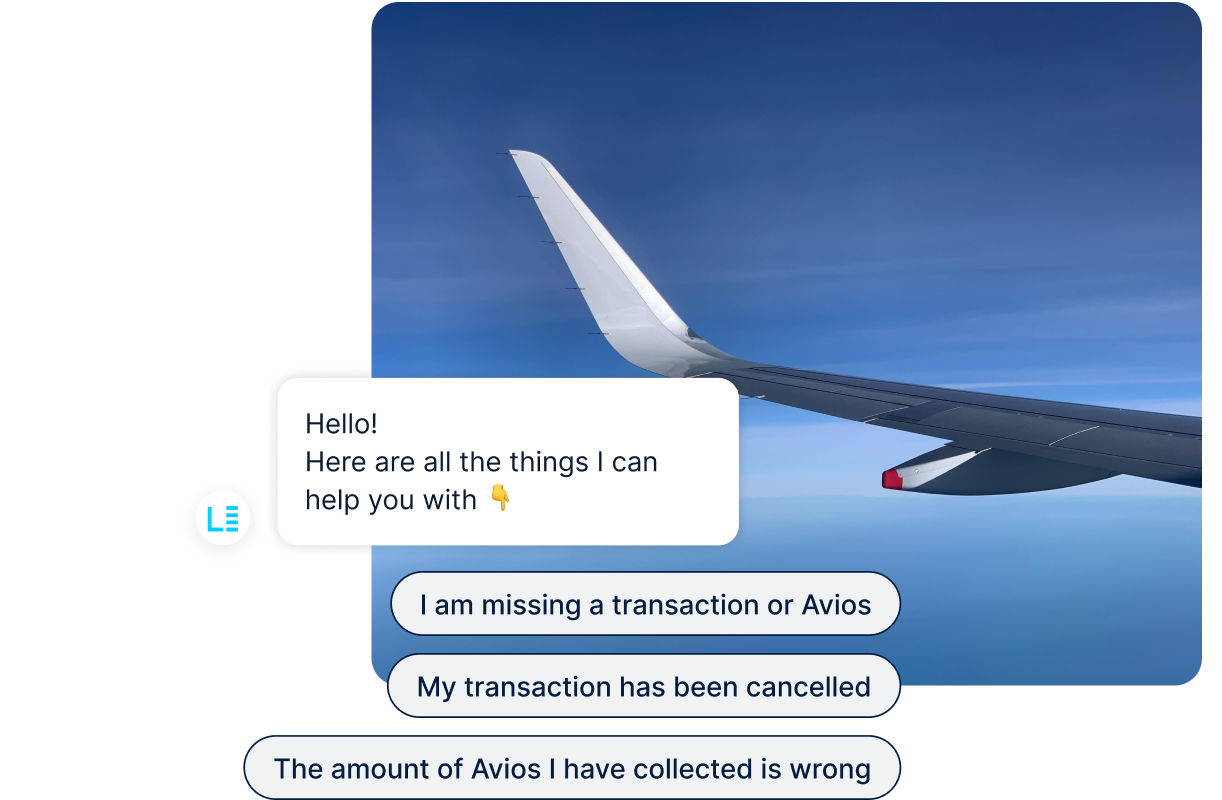 Airplane wing and chatbot interface