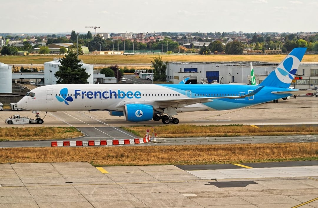 French Bee Airplane Preparing for Take-Off