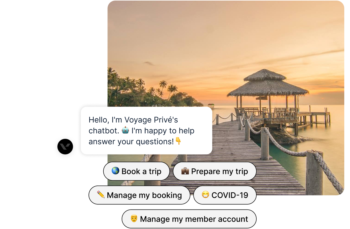 tropical island getaway with chatbot text