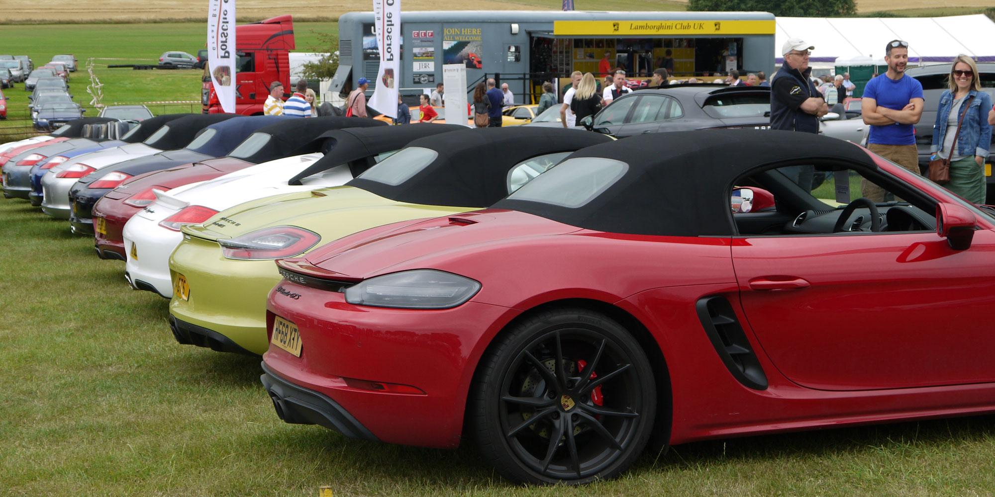 A line of Porsches