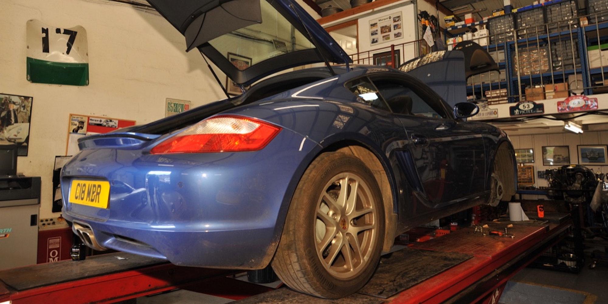 Porsche having a service