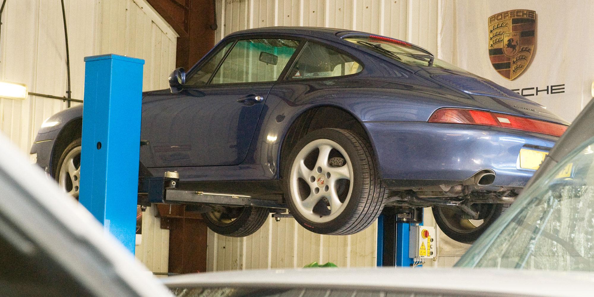 Porsche on a ramp