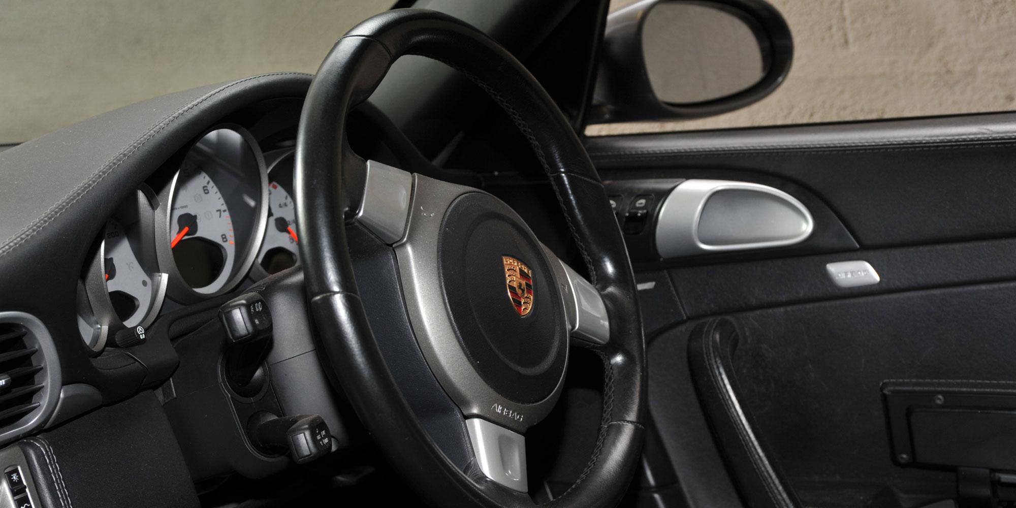 Black Porsche interior