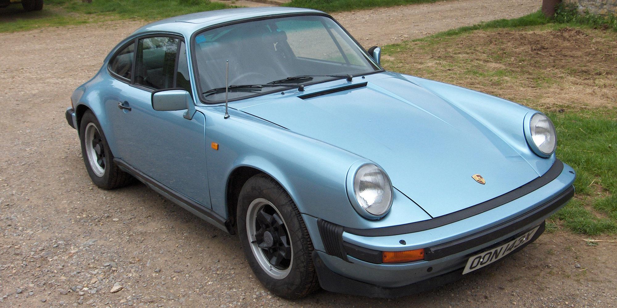 Silver blue Porsche