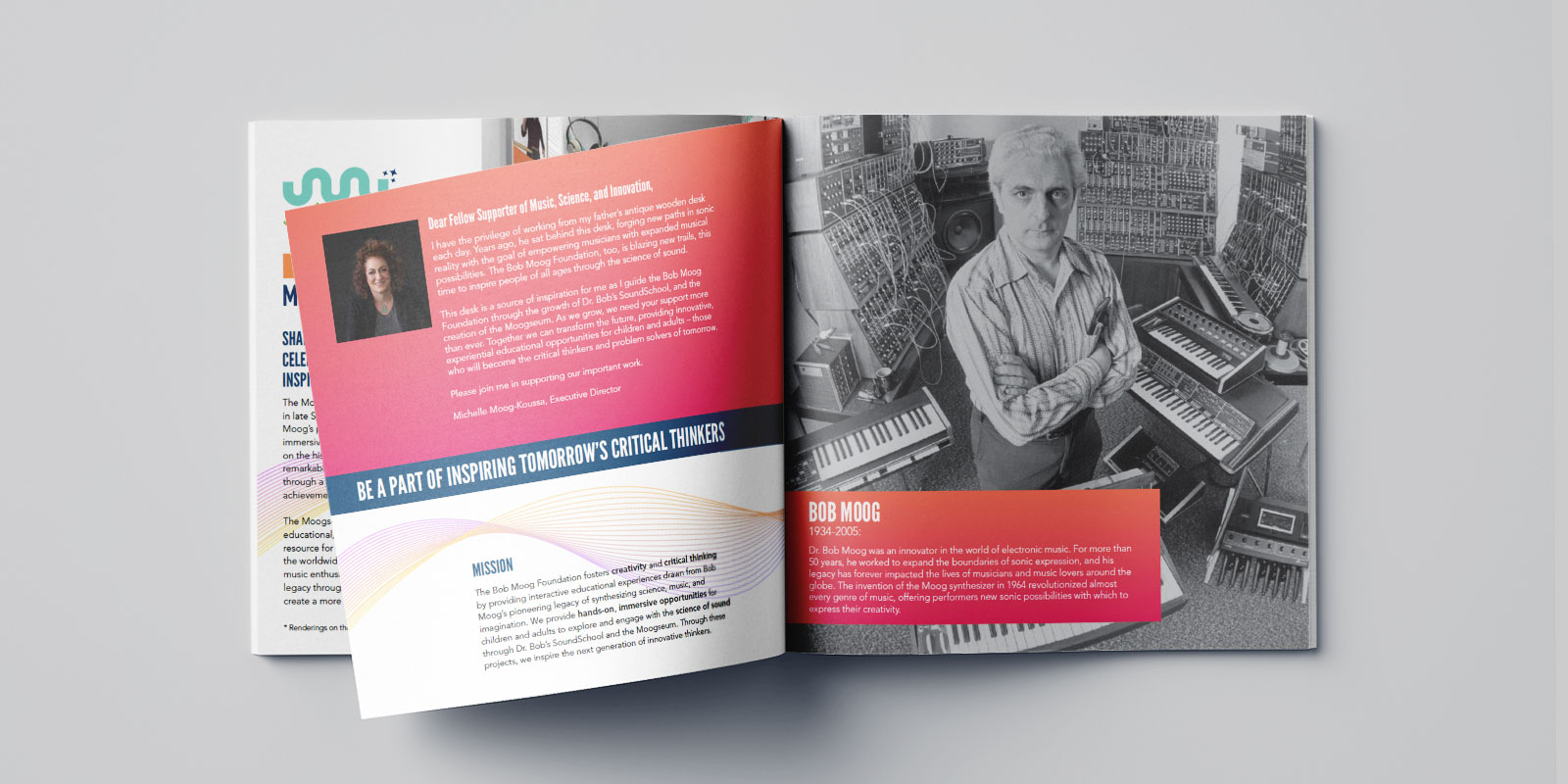 Catalog design with Bob Moog working on a synthesizer