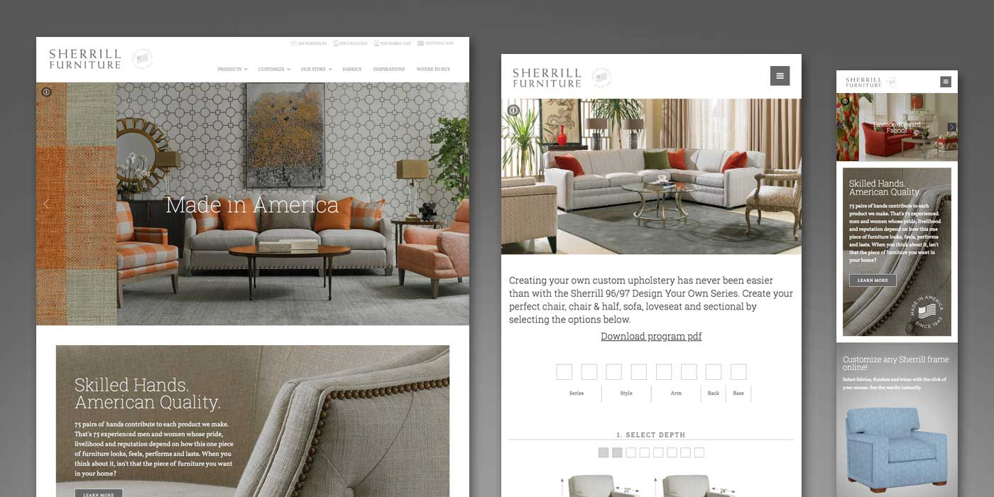 Furniture website design with room and sofa, chairs, and table