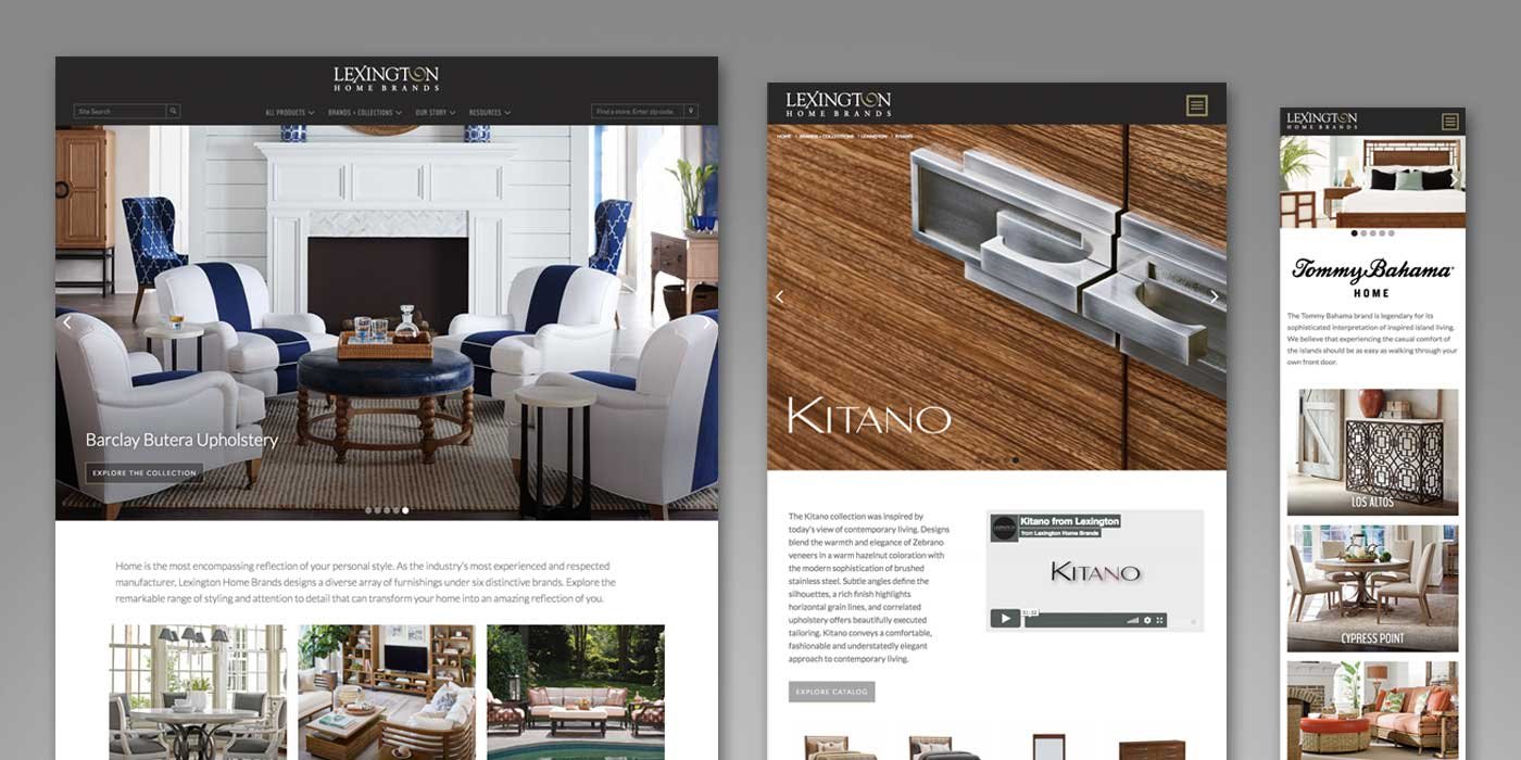 Furniture website with sofa, table, chair and detail of drawer handle