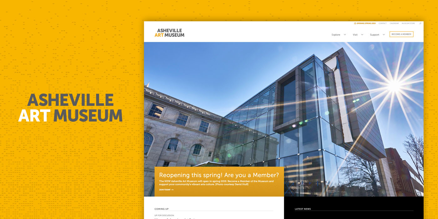 Gray and white logo on a yellow background and website with blue sky and modern architectural building