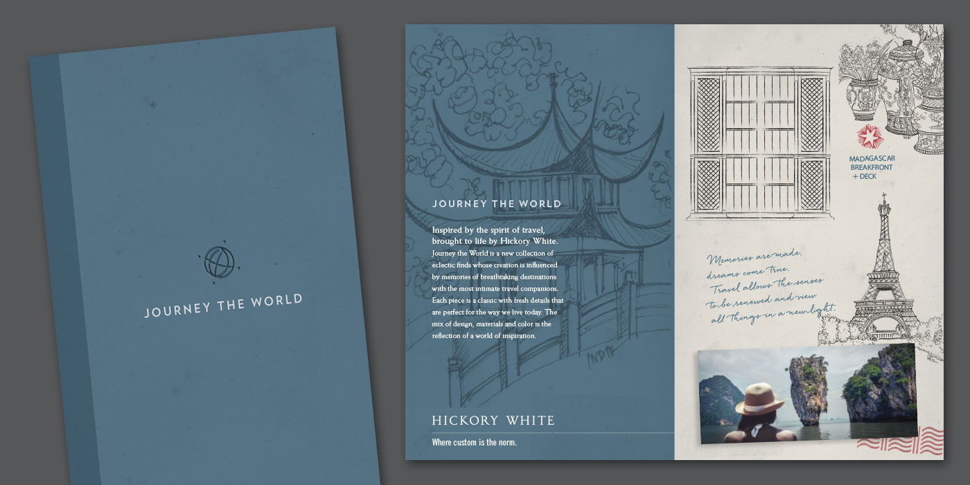 Advertising brochure with architectural elements