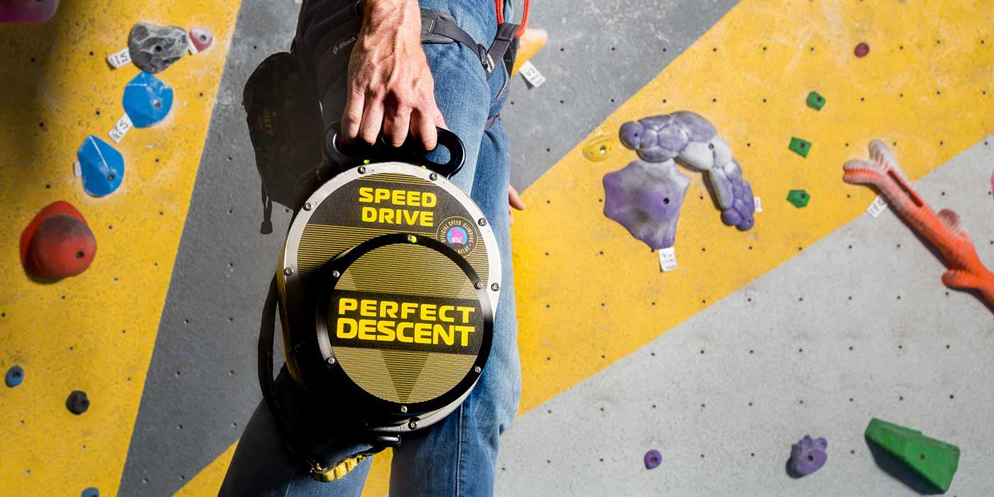 Advertisement with person rock climbing