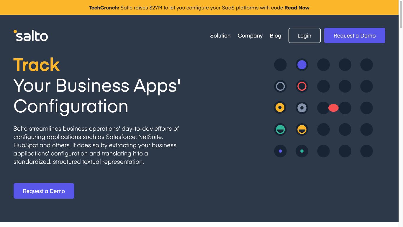 salto.io homepage screenshot