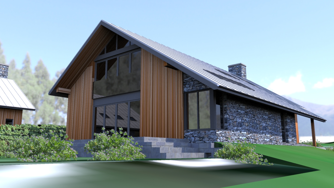 Rear Elevation with large glazed window to family room and master bedroom