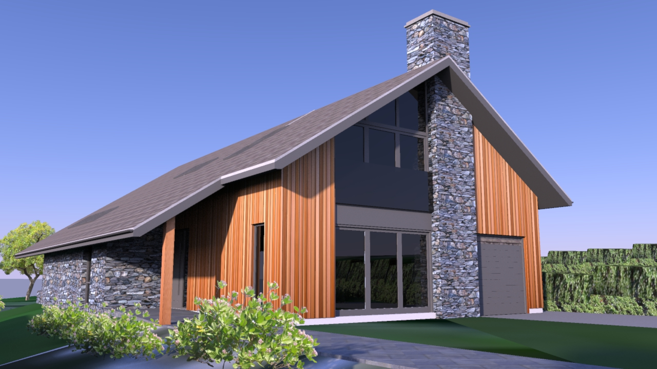 Front elevation overlooking the hills