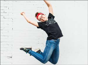 A girl jumping for joy